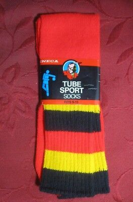GREAT VINTAGE 1980s ACRYLIC TUBE SOCKS 9 - 15 RED W GOLD & BLACK STRIPED TOP N0S
