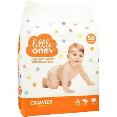 Little One's Ultra Dry Boys & Girls Crawler Nappies 56 Pack