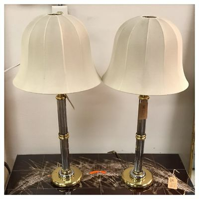 Pair of French Brass & Metal Mid Century Modern Lamps with Lampshades