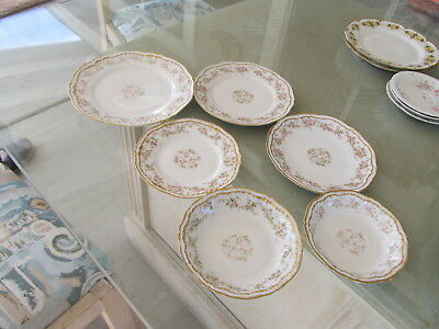 Theodore Haviland Limoges Double Gold Roses Schleiger 4 Plates 2 Bowls.