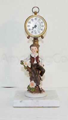 Vintage Blessing Alarm Clock with Young Boy statue - Made in Germany