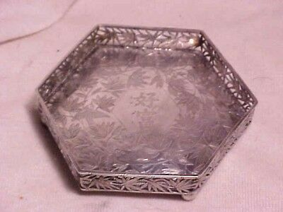 Chinese Or Asian Export Silver Dish W/chased Design Birds And Bamboo