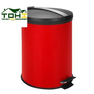 RED ROUND METAL Step On Touchless Trash Can 3 Gallon Removable inner bucket NEW