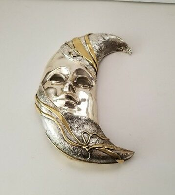 D'Argenta Mexico Silver/Gold Plated Moon Mask Work by Javier Arenas LTD ED