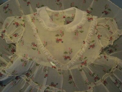 Vintage 50s Baby Girl Infant Dress Old Time Car Novelty Sheer Crepe lace ruffle