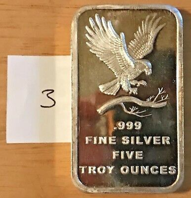 Lot 3 - SilverTowne Trademark Eagle 5 Troy Oz .999 Fine Silver Bar Ingot