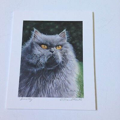 Drew Strouble cat print SMOKEY, Catmandrew, gray cat, 6 x 7