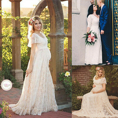 US Pregnant Women Lace Floral Long Maxi Dress Maternity Gown Photography Props #