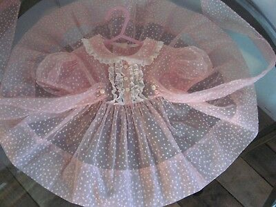 VELVET STARS on Vintage 1950s Pink Sheer Chiffon Infant Baby Girls Party Dress
