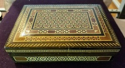 Vintage intricately Inlaid Wood Jewelry Trinket Box Lined Egypt 6.5 x 4.5 x 4
