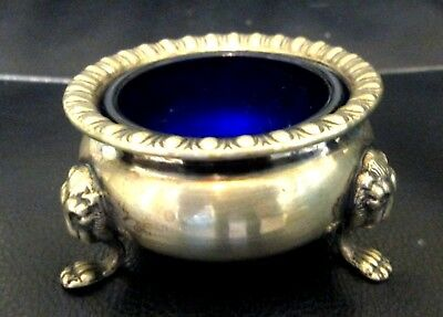 "English Silver Plate Salt Cellar Dish Cobalt Blue Glass Insert Marked 3"" X 1 1/2"