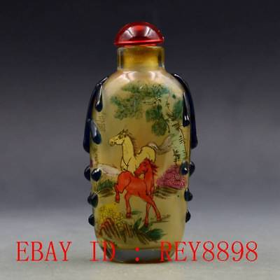 Antique Chinese Glass Internal Hand-painted Horse Snuff Bottles N37