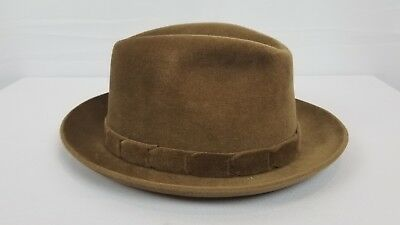 Stunning Vintage Churchill Tan Felt Fedora 6 3/4 Men's hat
