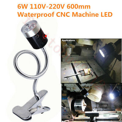 6W 6500K CNC Machine LED Lamp 110V-220V Flexible Clamp Base Working Light  600mm