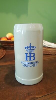 """hofbrauhaus Munchen"" Salt Glazed German Beer Mug 1L Munich Germany, 1976"