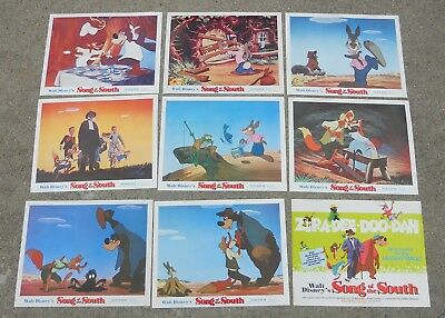 Set of 9 Full Color 11x14 Walt Disney Song of The South Lobby Cards 1972