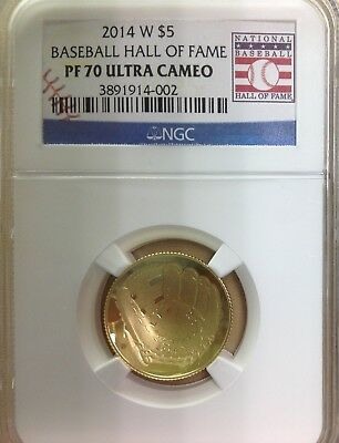 2014 W US Mint $5 Gold Baseball Hall of Fame Comm. Coin - NGC PF70 Ultra Cameo