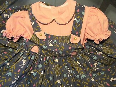 Vintage 1950s Baby Girl Novelty Dress BIG EARED BUNNY RABBIT Cotton Fabric CUTE