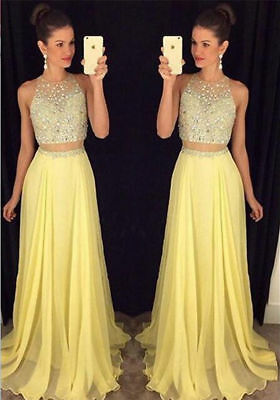 2 Pieces Beaded Women's Dress Long Formal Evening Party Prom Bridesmaid Dresses