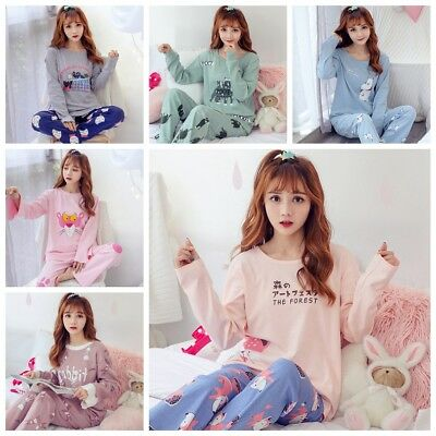 Women Sleepwear Cute Cartoon Pajama Sets Soft Long Sleeve Loungewear Autumn Pj