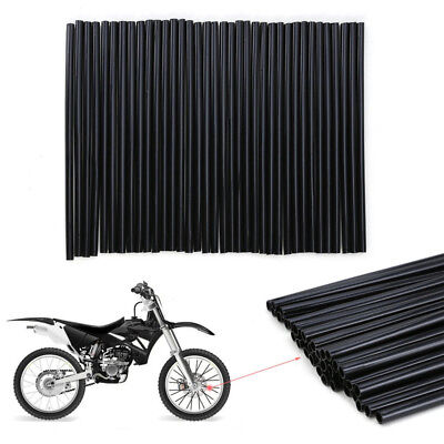 72Pcs Black Spoke Skins Covers Wraps Wheel Pipe Guard Dirt bike Dual Sport bike