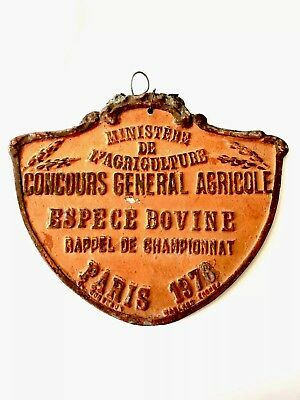 Original French Vintage 1976 Agriculture Plaque Award Animals Prize Sign Cow