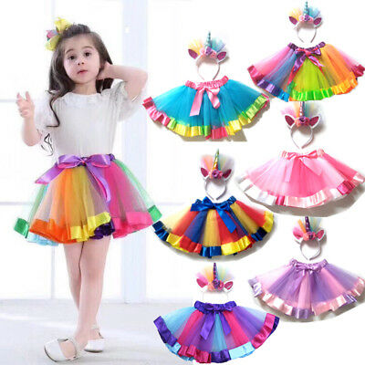 AU Kids Baby Girl Party Tutu Skirt Dance Dress Unicorn Headband Photo Props som
