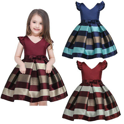 AU Flower Kid Baby Girl Princess Bowknot Striped Party Formal Gown Dresses 2-10Y