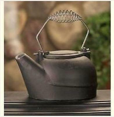 Black Vintage Wood Stove Cast Iron Kettle Humidifier Pot Steamer Fireplace 25QT