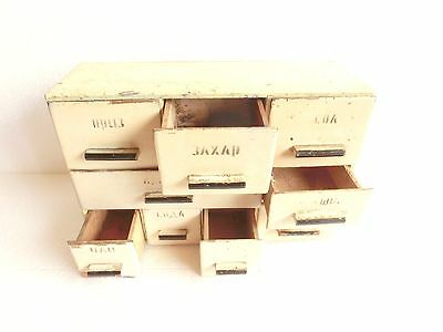 """14"""" ANTIQUE 9 Drawer Wood Shabby Chic PRIMITIVE Country Farmhouse spices Cabinet"""