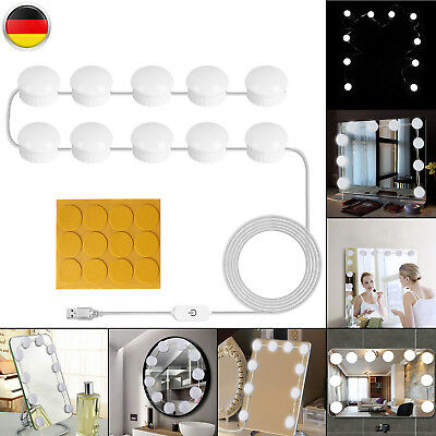 10LED Make-up Mirror Hollywood Stil Spiegellampe Dimmbar Schminklicht Lampe Kit