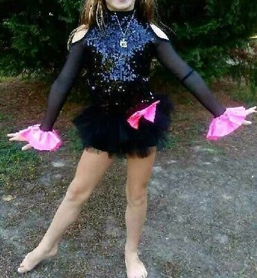 Custom made Black Sequen COMPETITION READY Child small dance costume W/ Stones