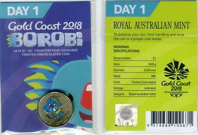 """2018 Gold Coast Commonwealth Games Borobi $1 coin """"GC"""" Counterstamped - Day 1"""