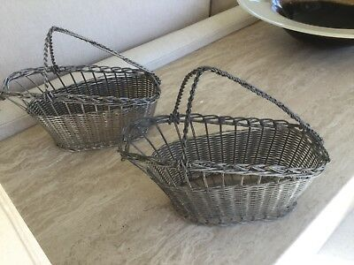 Pair Of Vintage Silver Plated Wine Bottle Baskets - Woven