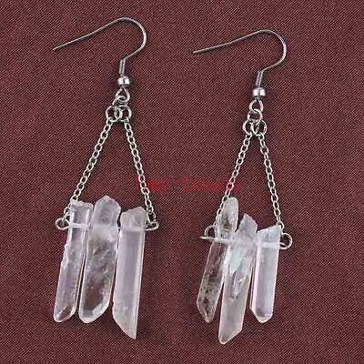 Silver Plated Natural Raw Quartz Crystal Clear Color Stone Hook Dangle Earrings