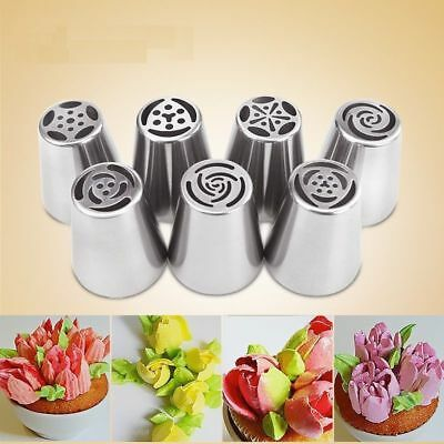 7Pcs Flower Piping Cake Cupcake Icing Nozzles Tips Rose Tulip Blossom Tools MT77