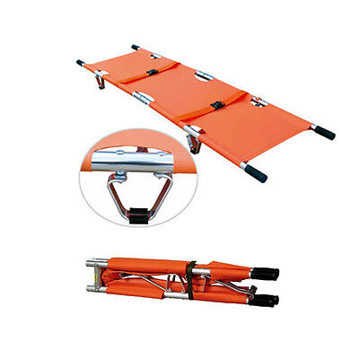 Outdoor Aluminum Folding Bed Stretcher Durable Medical Patient Sports venues BIN