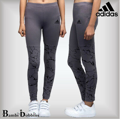 Adidas Performance Girls Age 5-6 Years Trace Grey Youth ID AOP Tight Leggings