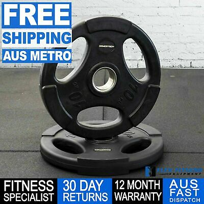 Olympic Tri Grip Rubber Weight Plate 1.25 - 20kg Gym Weightlifting Exercises