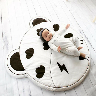 Baby Crawling Rug Kids Children Game Play Mat Soft Cotton Round Carpet Blanket