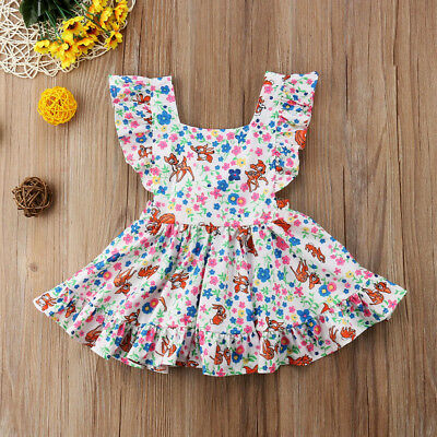 Cute Toddler Kids Girl Floral Deer Summer Casual Tunic Skater Dress Clothes AU