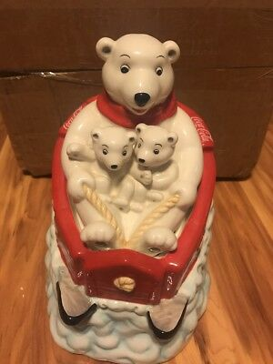 Gibson Collectible Coca Cola Polar Bear Cookie Jar Ceramic with cubs on sled