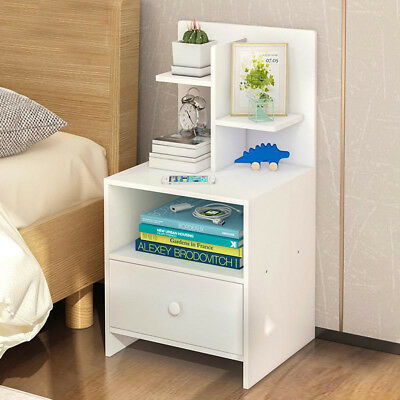 1 Drawer Bedside Chest Side Table Cabinets Unit Nightstand Shelf Bedroom White