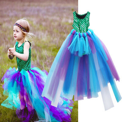 Kid Girl 2Pcs Mermaid Top Tulle Tutu Skirt Sets Ballet Pettiskirt Princess Dress