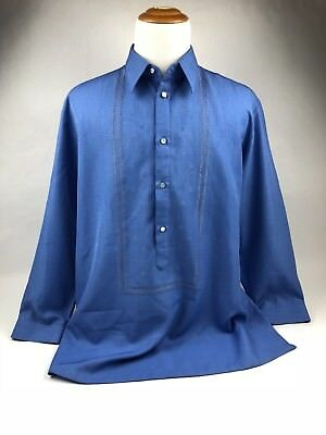New Elegant Filipino Barong Men's Clothing Blue With Embroidered Design (C)