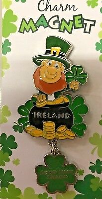 ireland metal FRIDGE MAGNET LEPRECHAUN SHAMROCK POT OF GOLD GOOD luck charm