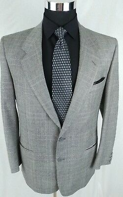 Valentino Gray Plaid Check Wool Sport Coat 2 Button Jacket Mens Size 40 R
