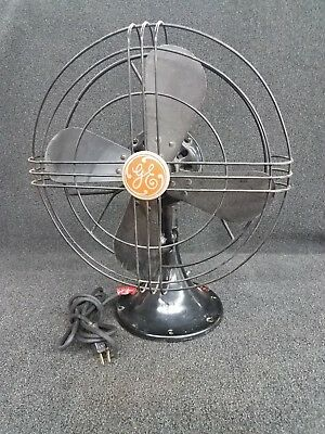 "Antique General Electric 12"" Oscillating Fan - Cat. No. 49X929 - Cast Iron Base"