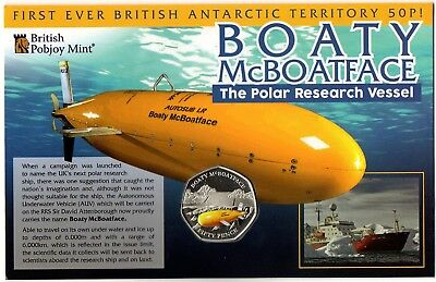 BOATY MCBOATFACE 2018 UNC/COLOURED DIAMOND FINISH 50p