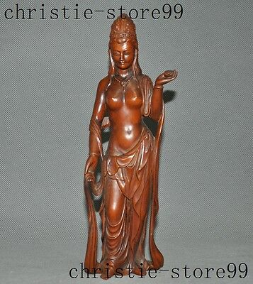 "10""Old Chinese Boxwood wood Buddhism station Kwan-Yin GuanYin Goddess statue"